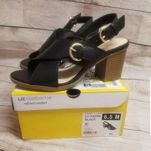 Liz Claiborne Black Heel Sandals 6 1/2 New In Box